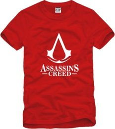 T-shirt Credo Pas Cher-Le T-shirt des enfants d'expédition libre T-SHIRT de CREED d'ASSASSINS T-shirt de credo d'assassin de symbole de gamer 100% coton T-shirts des enfants 6 couleur Taille 90-150cm