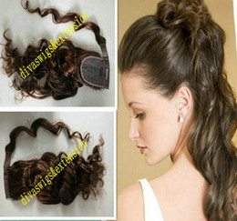 Discount african american human hair ponytails - medium brown #4 Wraps loose wavy human hair ponytail hairpiece clip natural wave hair drawstring pony tails African amer