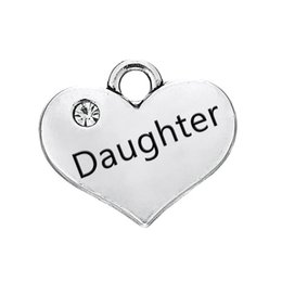 $enCountryForm.capitalKeyWord Canada - Daughter Hot Sell Engraved Words Clear Crystal Heart Pendant With Antique Silver Plated Fashion Charm DIY Necklaces&Bracelets