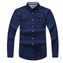 Wholesale blue oxford casual shirt men for sale - Group buy new autumn and winter men s long sleeve cotton shirt pure men casual fashion Oxford shirt social brand clothing