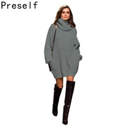 Longues Chaussures Habillées Pas Cher-Grossiste-Preself Sexy Femmes chaud pull Pull Pull col haut épais Pulls Robe pull en tricot hiver plus robes taille vestidos