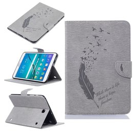 s2 case stand NZ - For Samsung galaxy Tab S2 8.0 T710 T715 Tablet Leather Case Filp Cover Wallet Stand With Card Slot Embossed Feather bird Desgin