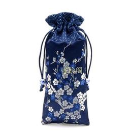 $enCountryForm.capitalKeyWord UK - Patchwork Cherry blossoms Lengthen Silk Brocade Pouch Drawstring Jewelry Necklace Gift Bags Wood Comb Trinket Storage Pocket 8x18 cm