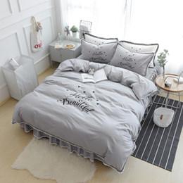 $enCountryForm.capitalKeyWord Australia - grey color cotton LACE brief luxury bedding sets HELLO words boys HOME queen king free shippiing duvet cover sheet pillow sets