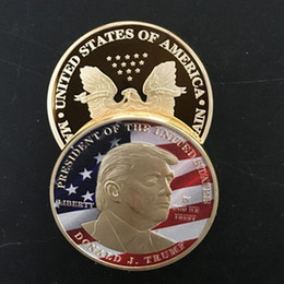 $enCountryForm.capitalKeyWord Canada - 5 pcs Donald Trump The President of The united state of Ameirca 24K real gold plated color souvenir USA coin badge