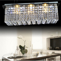 Discount rectangle dining room modern chandeliers - Modern k9 rectangle LED crystal Chandelier balcony lamp aisle lights ceiling light pendant lamps fitting for hallway Bed