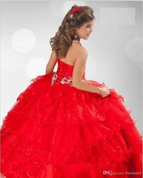 Wholesale Hot sale Luxury gorgeous Ball Gown Stratified Organza Ruffle Halter Beads Rhinestone Flower Girls Dresses Custom Size