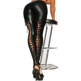 Pantalon Sexy En Cuir Noir Pas Cher-2017 Punk Rock Lace Up Stretch Pencil Pantalon Bandage Femme Faux Cuir Legging Gothique Noir Sexy Leggings LG002