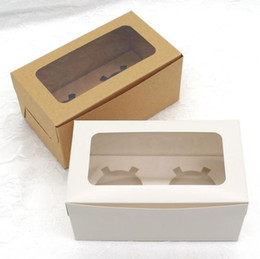 Wholesale kraft Card Paper Cupcake Box Cup Cake Holders Muffin Cake Boxes Dessert Portable Package Box Tray Gift Favor