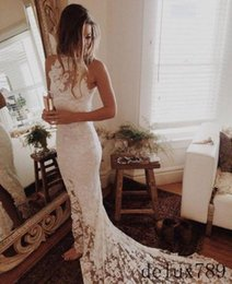 Barato Venda De Vestidos-Lace Beach Wedding Dresses 2017 Boho Custom Made Fighters de coxa Sexy Illusion Body Bridal Gown Cheap Sale