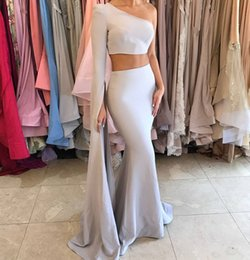 Robes Femme En Une Seule Pièce Pas Cher-Vestido De Fiesta 2017 Sexy Two Pieces One Shoulder Satin Mermaid Robes de soirée Custom Made 2017 Women's Party Gowns Handwork