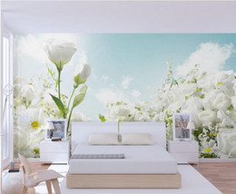 Fireproof Fabrics Wholesale Australia - Custom any size Modern beautiful white flowers wallpaper mural 3d wallpaper 3d wall papers for tv backdrop