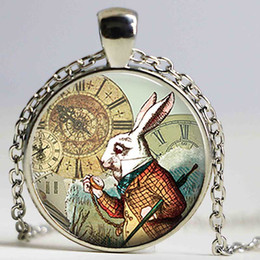 Fashion Jewelry Alice in Wonderland Necklace White Rabbit Charm Pendant Jewellery Gift UK Fashion Necklaces & Pendants