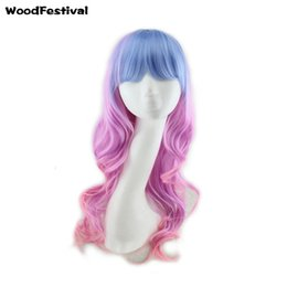 light pink long wavy wig UK - WoodFestival omber curly wavy hair wigs fiber synthetic wigs with bangs lolita long wigs for women pink burgundy blue green