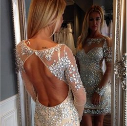 Barato Vestidos De Noite De Tul Com Mangas Compridas-Sexy Beaded Luxury Evening Dresses de cristal de mangas compridas em volta de decote de tul Dress For Prom Dresses Party Dress 2016