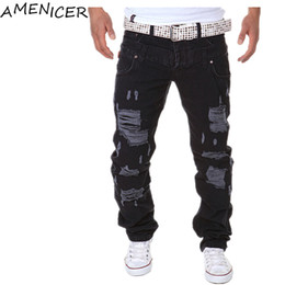 Jeans À Manches Courtes Pour Hommes Pas Cher-Vente en gros-Nouvelle Arrivée 2016 Hommes Casual Slim Fit Pantalons Mode Jeans Hommes Pantalon Hole Cheap Male Clothing Pantalons De Buzo Hombre