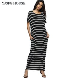 Barato Casual Vestido Preto Longo Praia-YJSFG HOUSE Casual Vintage Black Striped Short Sleeve Office Work Dresses 2017 Summer Long Maxi Beach Dress Pockets Robe Femme q170669