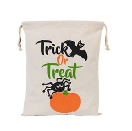 kids sack UK - 500pcs Newest Halloween Sacks Candy Gifts Bag 34X42CM Treat & Trick Drawstring Bags Cotton Canvas Kids Pumpkin Spider Tote Bag