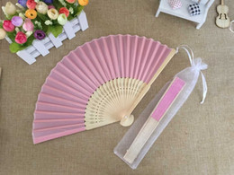 fold hand bag Australia - Free shipping Wholesale 50pcs lot White Elegant Folding Silk Hand Fan with Organza Gift bag Wedding & Party Favors Gift