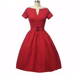 Wholesale swing vintage pinup resale online – Women Rockabilly Dress PinUp Hepburn V neck Ball Gown Tunic Swing Vintage Woman Dresses Female Vestidos s s With Belt DK3044MX