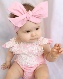 Barato Vestuário Recém Nascido Da Menina-Mikrdoo Newborn Infant Baby Romper Girls Pink Lace Floral Backless Jumpsuit High Quality Outfits Headband Kid Sweet Hot Sunsuit Wholesale