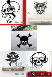 classic earphones Canada - Skull Teeth Wall Stickers Vinyl Skull Halloween Wall Sticker Cartoon Removable Musicl Earphone Decals Home Decor Free Shipping