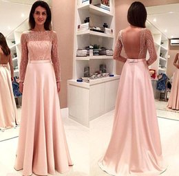 Barato Vestidos De Formatura Rosa De Lantejoulas Longo-Pearl Pink Sheer Long Sleeves Prom Festa Vestidos Sexy Backless A Line Satin Long Evening Gown Sparkly Sequins Formal Wear