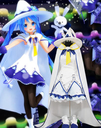 anime hatsune miku costume 2021 - 100%real white witch dress with cloak and hat cartoon cosplay costumes Hatsune Miku Magical