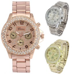 Discount geneva ceramic analog watch - Geneva Women watches top brand luxury Fashion Luxury Rhinestone Crystal Quartz Analog Watch