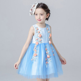 $enCountryForm.capitalKeyWord Canada - summer 2017 New Princess birthday party Dress 4-12T Blue Color Flower Girls Dress For Wedding Children's Clothing for Teenager Girls
