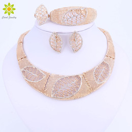 $enCountryForm.capitalKeyWord Australia - Leaves Shape Jewelry Sets For Women Big Choker Vintage Chunky Statement Chain Necklace Bracelet Earrings Ring Accessories