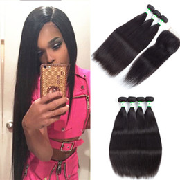 Brazillian Weave Hair NZ - Top Lace Closure With 3 Bundles Brazilian Human Hair Weaves Malaysian Indian Peruvian Straight Virgin Hair Grade 8A Brazillian Hair Closures