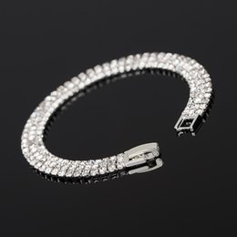 ice bracelets Canada - Beautifui many Row White crystal Iced Out Bling Bracelet Bangle Wedding Bracelets Bridal Jewelry for Women Party Prom Evening