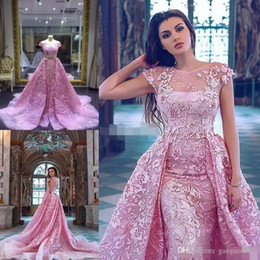 Barato Laço Decote Jóia Vestidos De Baile-Luxo Pink Mermaid Prom Dresses Com Detached Train Lace Appliqued Vestidos De Noiva Formal Manga Curta Jewel Neckline Party Dress 2017