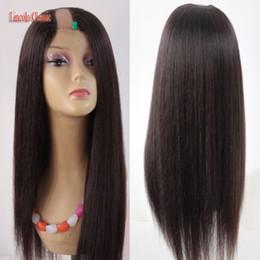 Soft human hair wigS online shopping - 2018 Crazy Price Soft U Part Wig Yaki Straight Human Hair Peruvian Virgin Human Hair U part Wig Straight Style Middle U Part