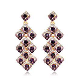 $enCountryForm.capitalKeyWord NZ - Square Shape Silver Gold Crystal Long Dangle Drop Earrings Wedding Bridal Chandelier Party Fantaisie Female Pendantes Earring Jewelry