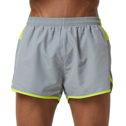Barato Cinza Calça Curta Para Homem-Atacado- Uskincare Shorts Men Sports Shorts Running Loose Short Pants Grey Respirável Quick Dry Fitness Gym Homme Plus Shorts M16L224R