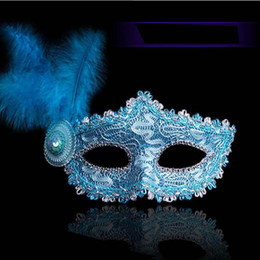 $enCountryForm.capitalKeyWord Australia - 2017 new Halloween Masks Mints Women Half Face Feathers Sexy Venetian Princess Kids Mask Wholesale free shipping