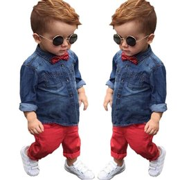 $enCountryForm.capitalKeyWord Canada - children boy bow tie fashion suits long sleeves denim shirt+trousers solid color vintage clothing sets for kids baby boy cheap set wholesale