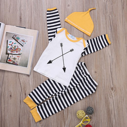 $enCountryForm.capitalKeyWord Canada - Newborn Baby Designer Clothing Set Strip Toddlers Costume Fall Outfit Hat Autumn Knit Kids Playsuit Boutique Boys Girls Clothes Tracksuit