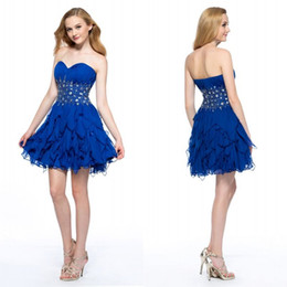 Robes De Royal Blue À Bas Prix Pas Cher-New Arrival A Line Sweetheart Royal Blue Chiffon Homecoming Robes Beaded Sequined Crystal Low Price Sexy Prom Cocktail Robes sans manches