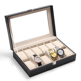 Glass Black Display Cases Canada - Luxury 12 Grids Black Leather Watch Box Jewelry Display Collection Storage Case Watch Organizer Box With Transparent Glass Cover