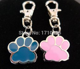 Vintage Car Prints NZ - 50pcs Fashion Vintage Silver Alloy Enamel Alloy Dog Paw Prints Charm Keychain Gifts Fit Key Chains Accessories Jewelry D385