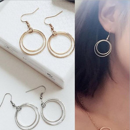 Double layer earrings online shopping - Minimalist style jewelry simple personality Europe and the United States explosion of metal double layer small round ring round earrings