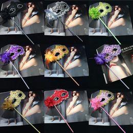 $enCountryForm.capitalKeyWord Australia - Women Fashion Side Flower Handheld Masquerade Masks Halloween Party Carnival Half Face Masks With a Stick Club Show Masks Mix Order Allowed