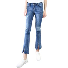 Collants Maigres Pas Cher-New Spring Slim Fit Ladies Jeans Blue Patchwork Hole Irregular Micro Pantalons Stitch Knees Design Tight Skinny Jean Pantalons