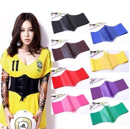 $enCountryForm.capitalKeyWord Canada - 100pcs Fashion PU Leather wide belts Women Waist Band Elastic Tied Waspie Cincher Corset Belt F371