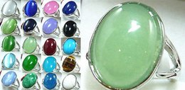 $enCountryForm.capitalKeyWord Canada - Wholesale cheap Stunning green pink red purple blue jade black agate bead 18KGP ring(#7,8,9)