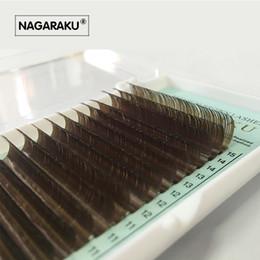 Long coLored hair extensions online shopping - NAGARAKU Mix mm in one case Individual Eyelashes False Mink Colored Fake Natural Eyelash Extension Color EyeLash Brown