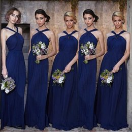 Barato Linha De Vestido De Verão Halter-Royal Blue Modern Chiffon Vestidos de dama de honra 2017 Sexy Halter Neck A Line Pliss Wedding Wedding Dresses Summer Wedding Maid of Honor Gowns